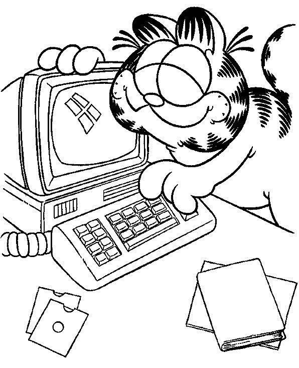 Гарфилд возле компьютера Скачать раскраски с цветами