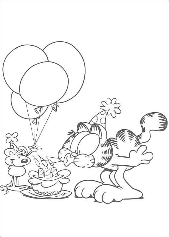 День рождения гарфилда Раскраски с цветами распечатать бесплатно