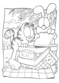 Гарфилд на пикнике Раскраски с цветами распечатать бесплатно