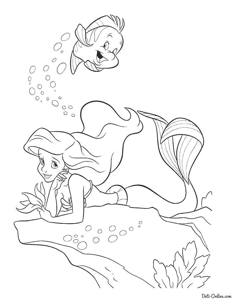 Русалка под водой Раскраски с цветами распечатать бесплатно