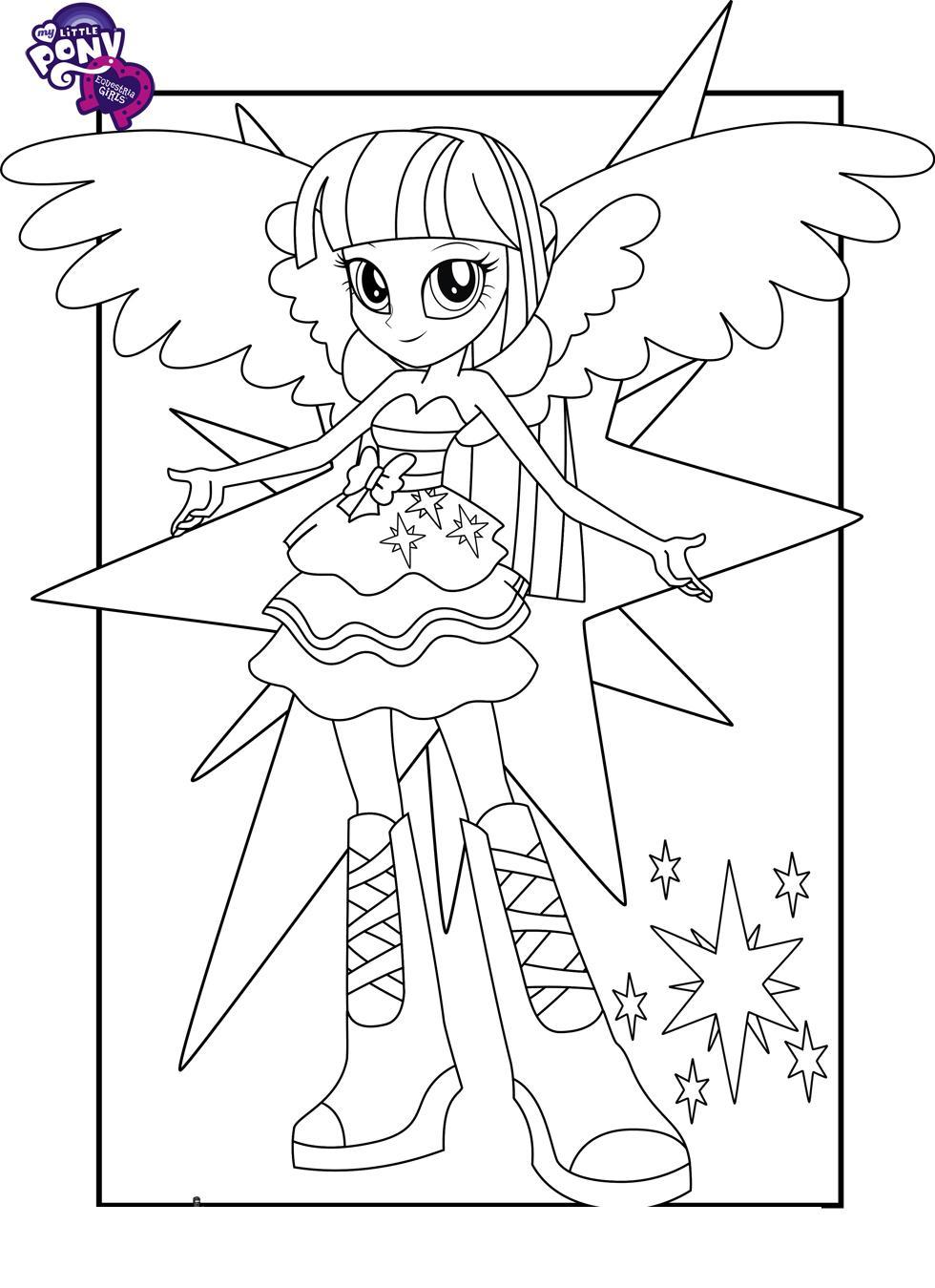 Май литл пони, девочка среди звезд Раскраски с цветами распечатать бесплатно