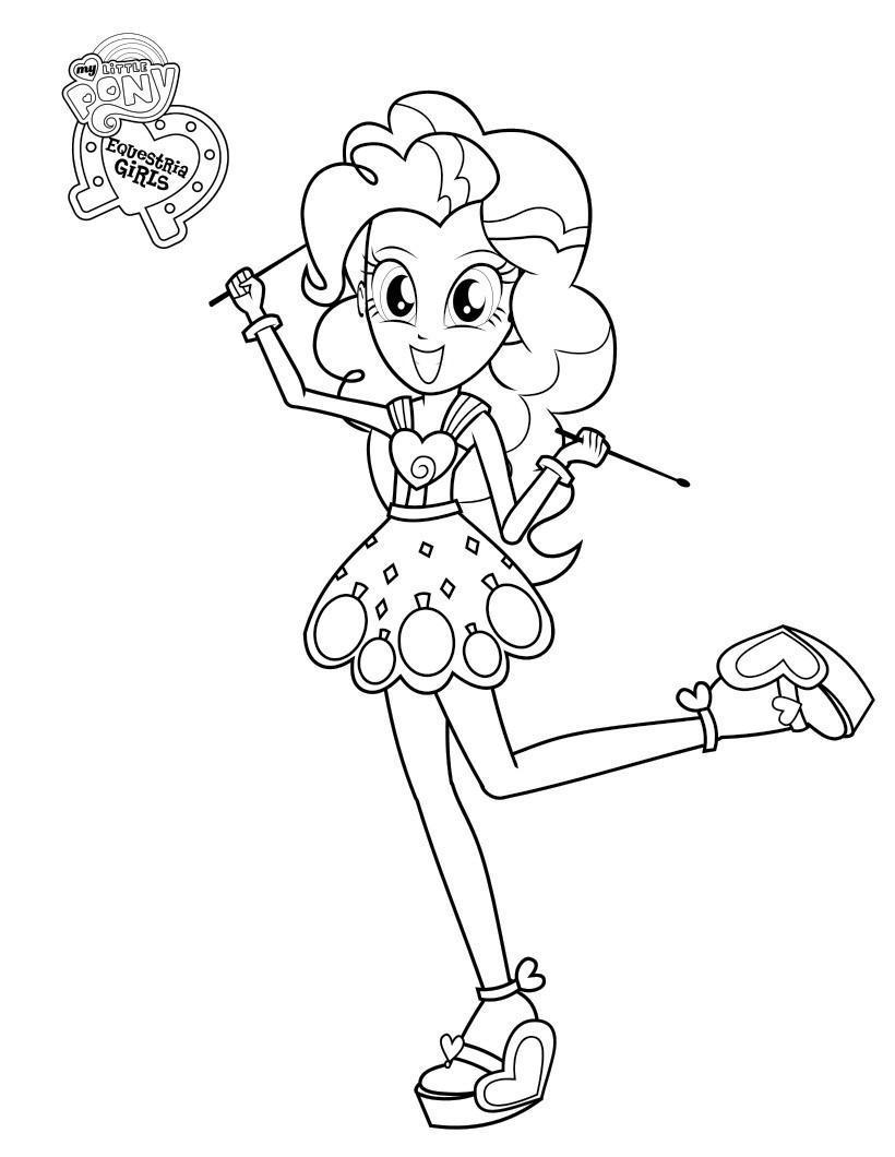 Май литл пони, девочка в платье в сердечко Раскраски с цветами распечатать бесплатно