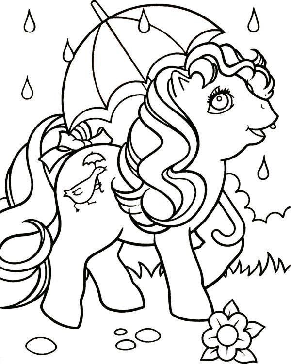 Пони с зонтиком под дождем Скачать и распечатать раскраски цветов бесплатно