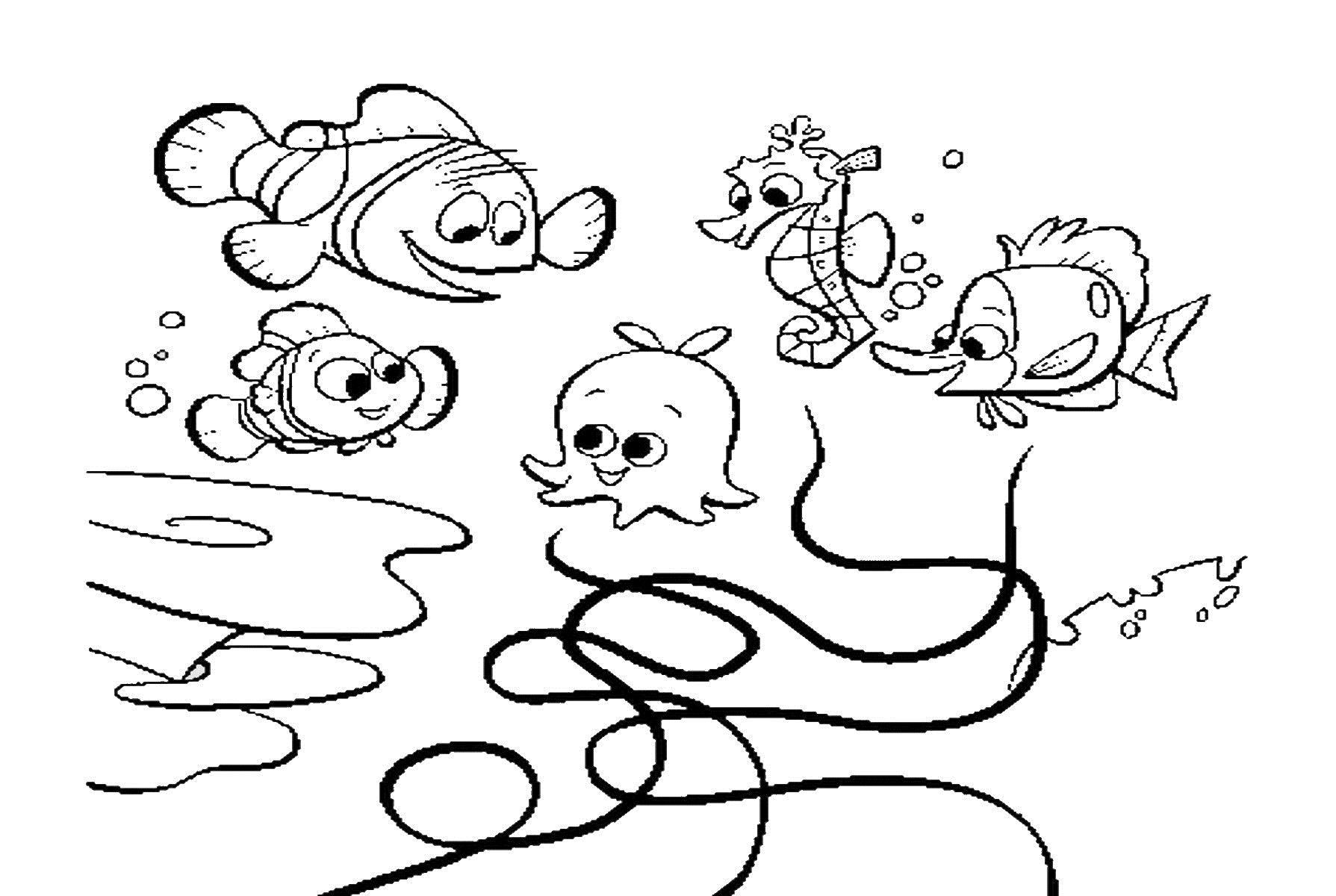 Рыбки, морской конек, медуза Скачать новые раскраски цветы