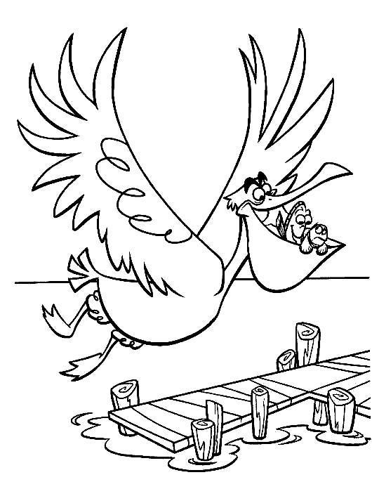 Рыбки во рту у пеликана Скачать новые раскраски цветы