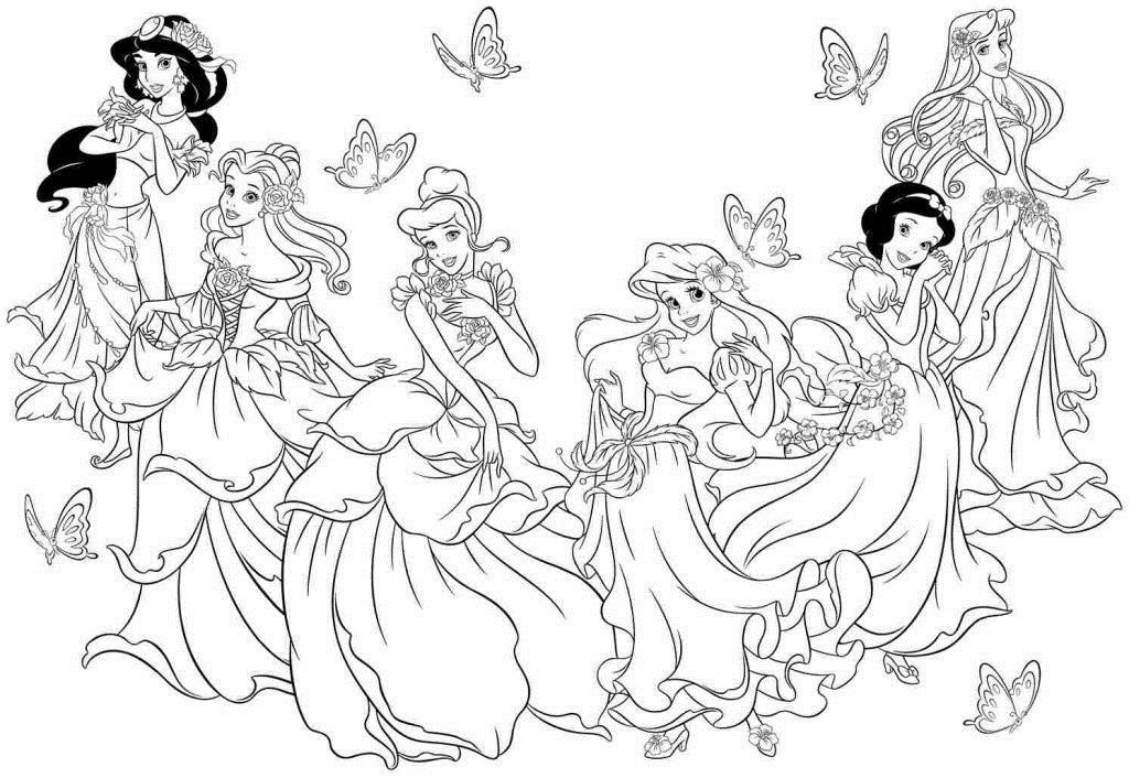Принцессы из диснеевских мультфильмов Раскраски с цветами распечатать бесплатно