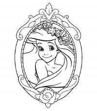 Отражение русалочки в зеркале цветы раскраски онлайн бесплатно