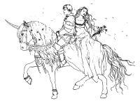 Принцесса и принц на коне Найти раскраски цветов