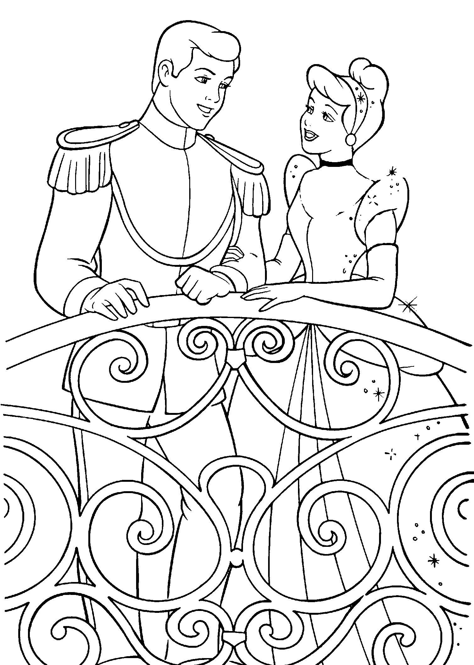 Принцесса с принцем на балконе Найти раскраски цветов
