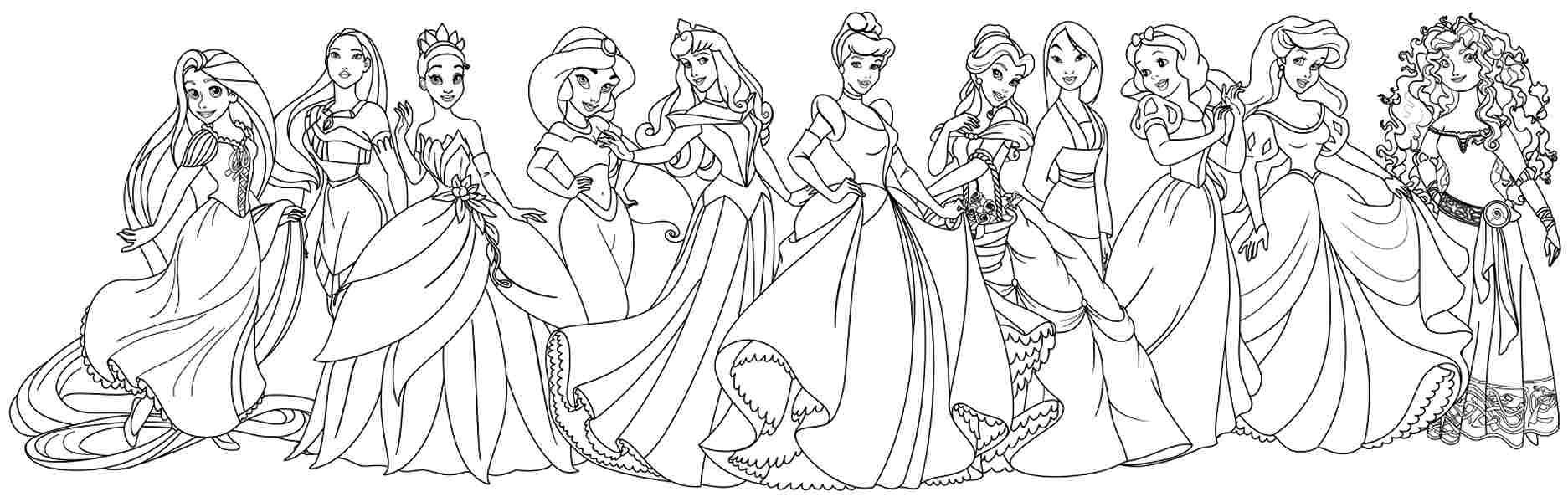 Одиннадцать принцесс диснеевских мультфильмов Раскраски с цветами распечатать бесплатно
