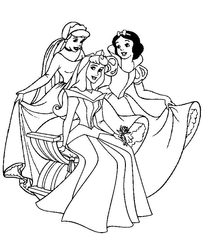 Три принцессы Раскраски с цветами распечатать бесплатно