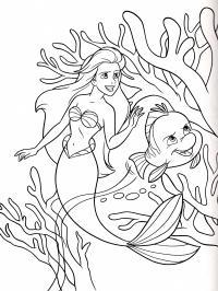 Русалочка с рыбкой цветы раскраски онлайн бесплатно