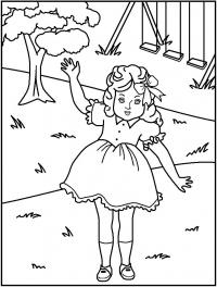 Кукла на детской площадке Раскраски детские с цветами