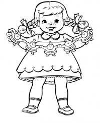Девочка с бумажными куклами Разукрашки цветы