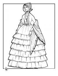 Кукла с большим платком в горошек Раскраски детские с цветами