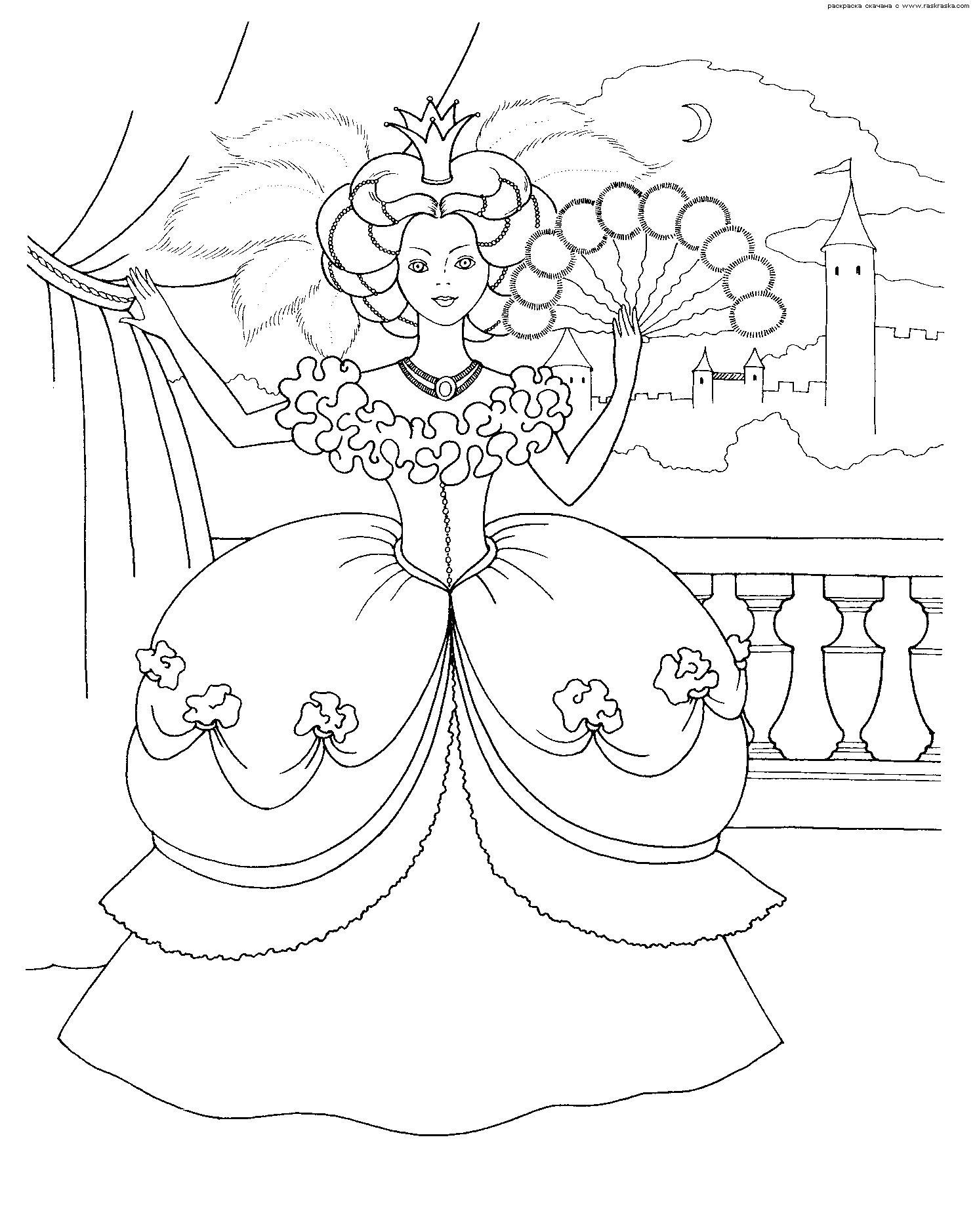 Принцесса на балконе Раскраски с цветами распечатать бесплатно