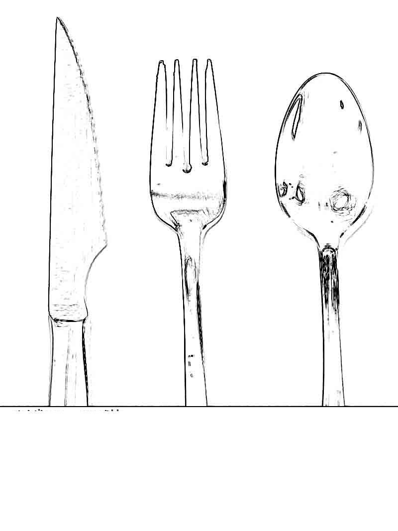 Ножик, ложка и вилка Раскраски цветы для детей