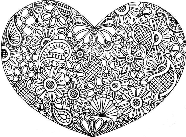 Сердце с узором внутри Новые раскраски с цветами