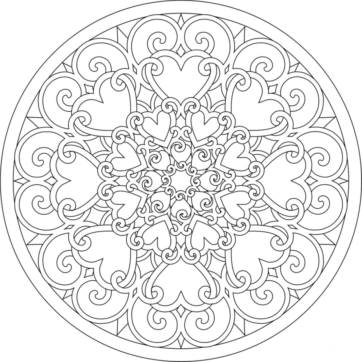 Узор в круге из соединенных между собой сердец Новые раскраски с цветами