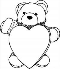 Мишка держит сердце в лапах Раскраски цветы онлайн скачать и распечатать