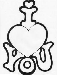 Сердце с надписью Раскраски цветы онлайн скачать и распечатать