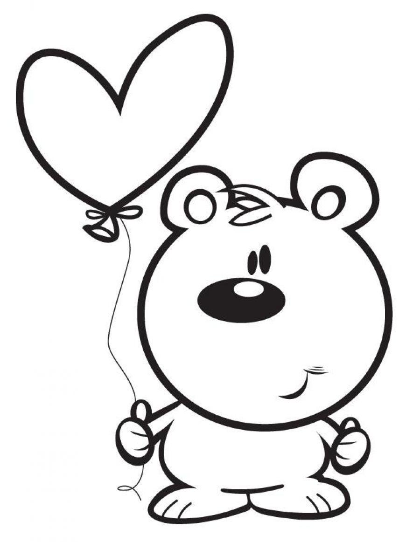 Мишка с воздушным шариком в виде сердца Раскраски цветы онлайн скачать и распечатать