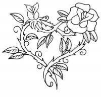 Сердце из розы Раскраски цветы онлайн скачать и распечатать