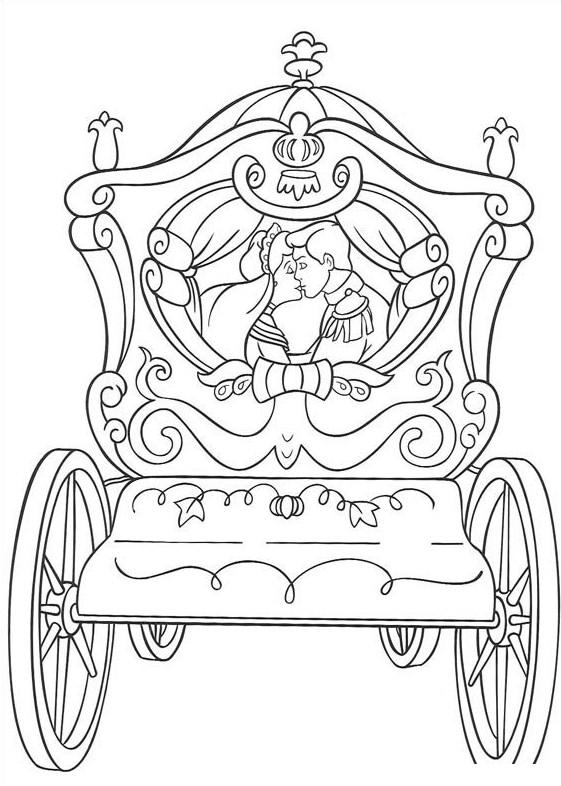 Принц с принцессой в карете Раскраски для девочек онлайн