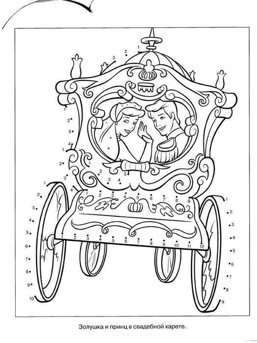 Золушка и принц в свадебной карете Раскраски для девочек онлайн
