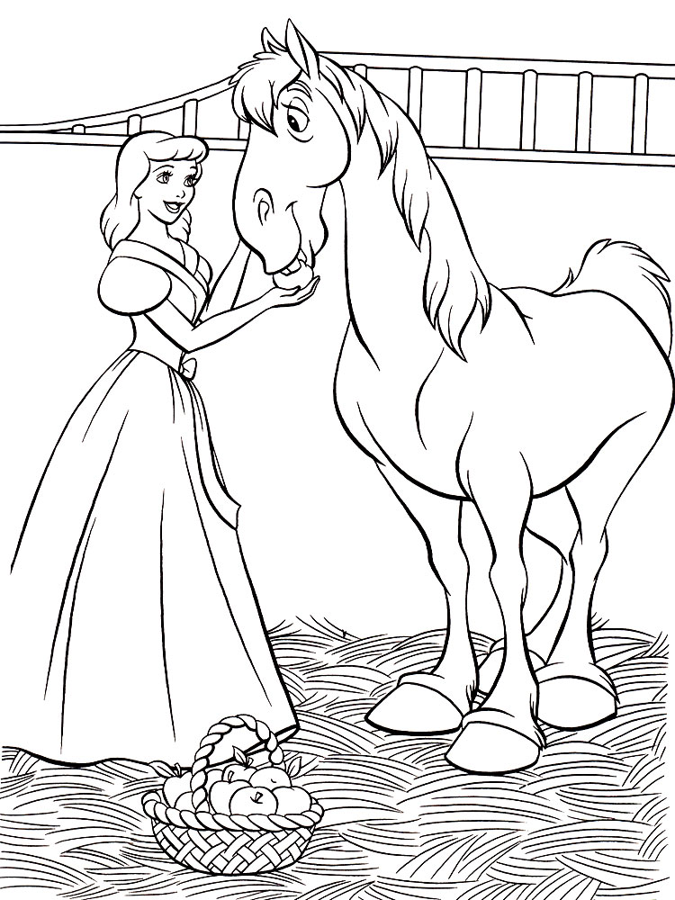 Девушка с лошадью Раскраска цветок для скачивания