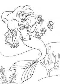Русалочка и морские коньки Картинки раскраски цветы