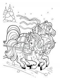 Лошадки с бубенцами Распечатываем раскраски цветы бесплатно