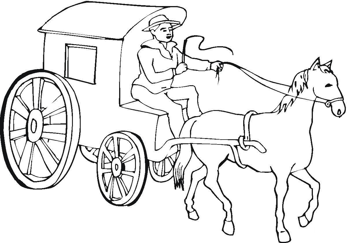 Карета, лошадь и кучер Раскраски для девочек онлайн
