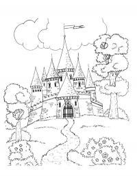 Замок Раскраска цветок для скачивания