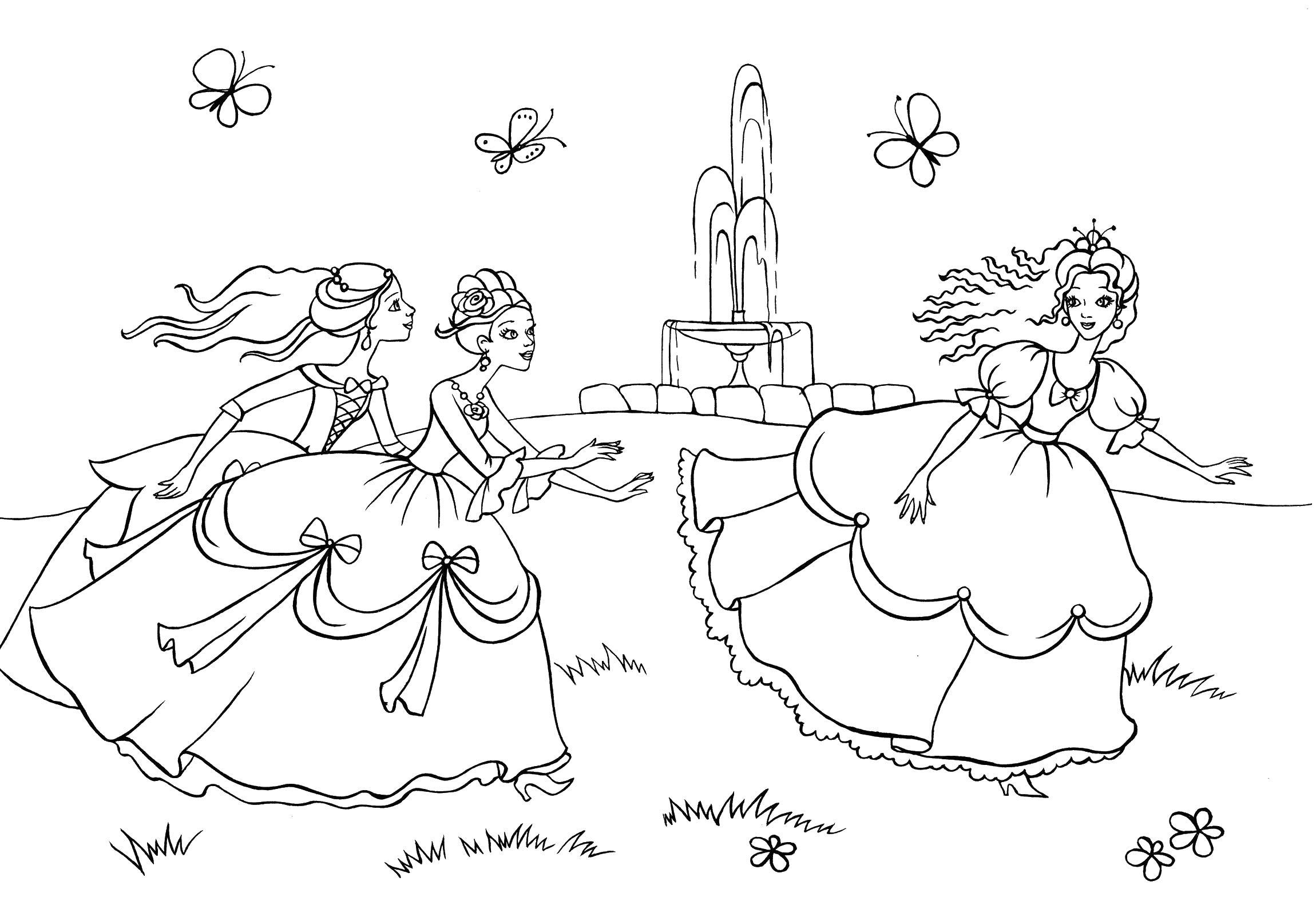 Принцессы играют во дворце рядом с фантаном Распечатываем ...