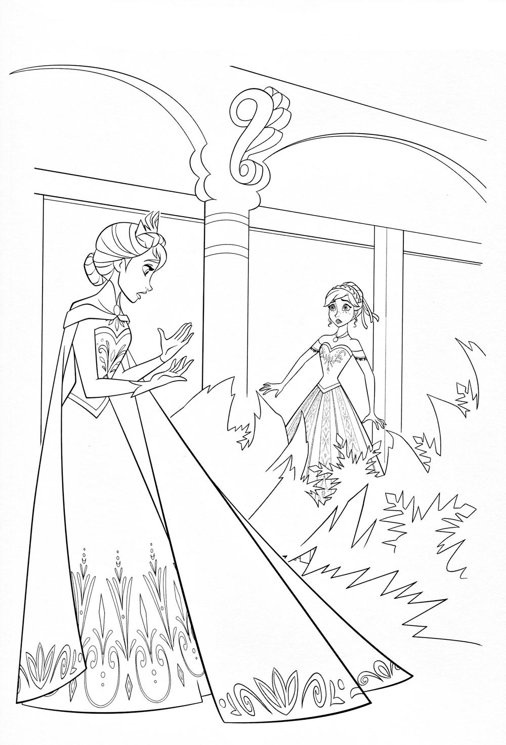 Замок принцессы из холодного сердца Раскраски детские с цветами