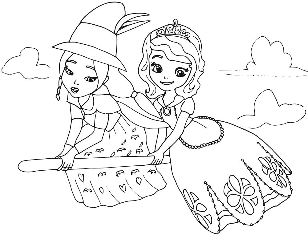Принцесса и колдунья летят на метле Раскраски с цветами распечатать бесплатно
