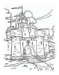 Замок принцессы с открытыми вратами Раскраски для девочек онлайн