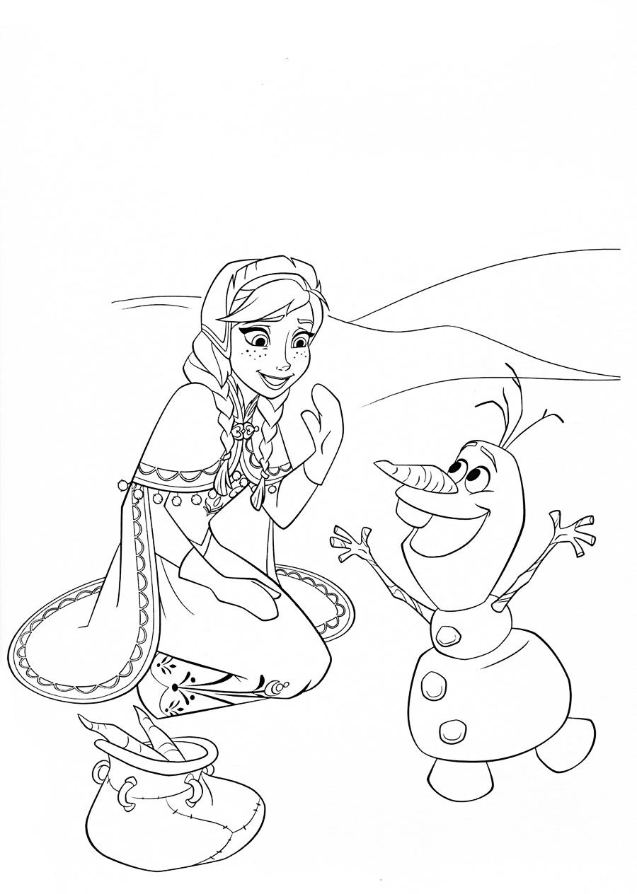 Анна и олаф Раскраски для девочек бесплатно