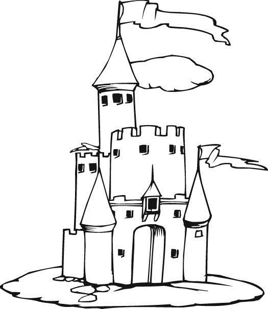 Замок принцессы с высокой башней Раскраски для девочек онлайн