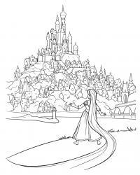 Замок принцессы рапунцель Раскраски для девочек онлайн
