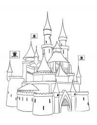 Замок принцессы с короной на флагах Раскраски для девочек онлайн