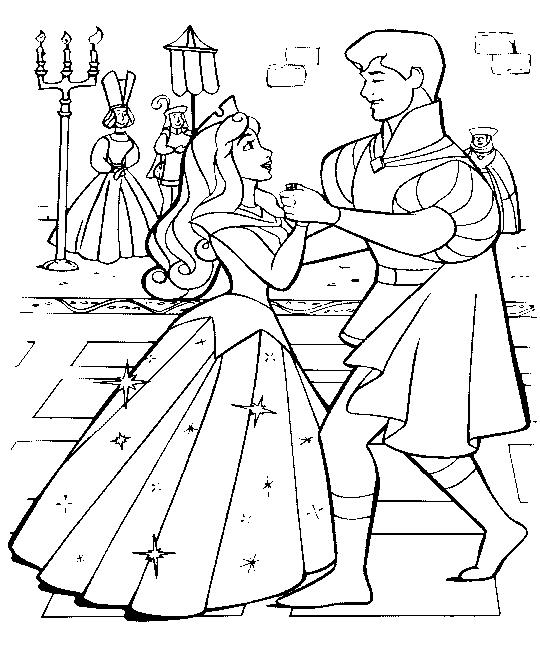 Принцесса танцует с принцем Раскраски с цветами распечатать бесплатно