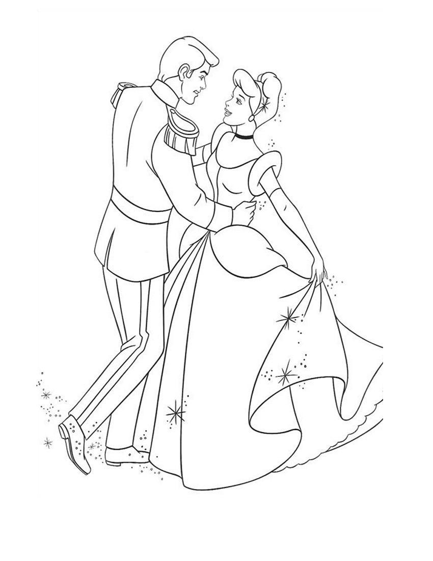 Золушка и принц на балу Раскраски с цветами распечатать бесплатно