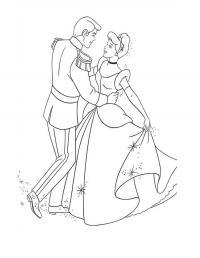 Золушка и принц на балу Раскраски цветов бесплатно
