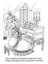 Принцесса поет на балу Раскраски с цветами распечатать бесплатно