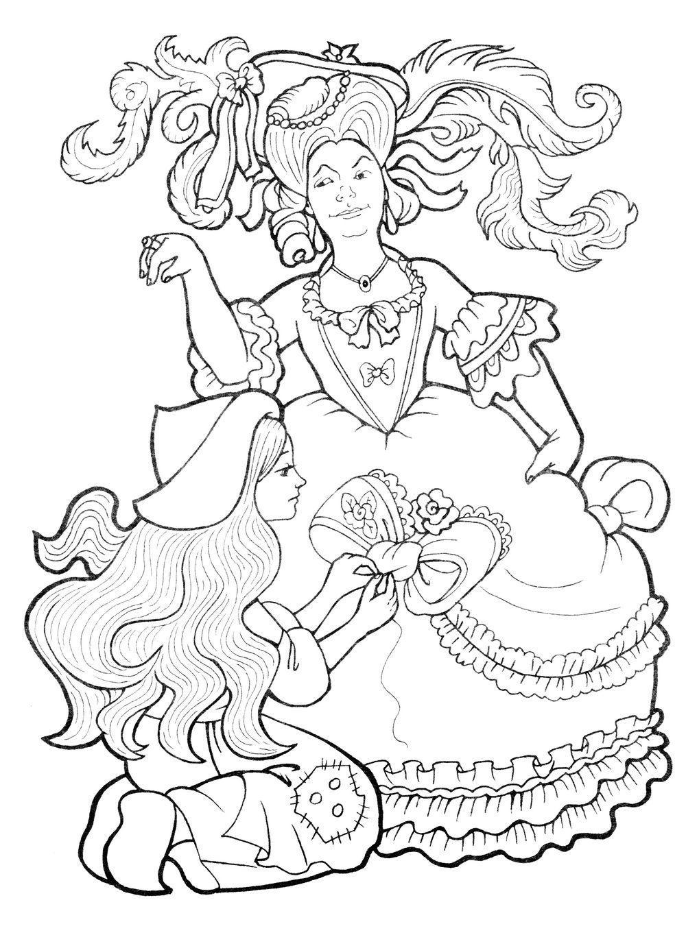 Золушка украшает платье мачехи для бала Раскраски с цветами распечатать бесплатно