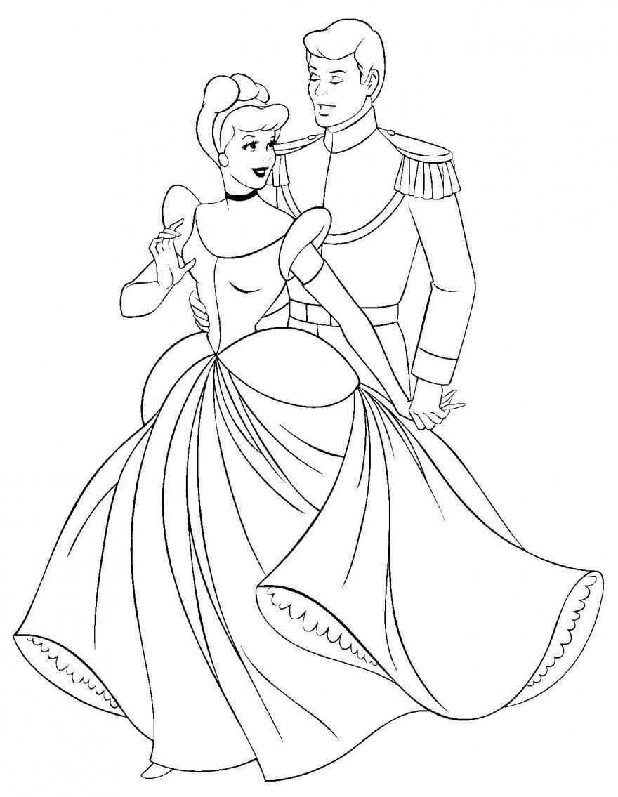 Золушка танцует с принцем Раскраски с цветами распечатать бесплатно