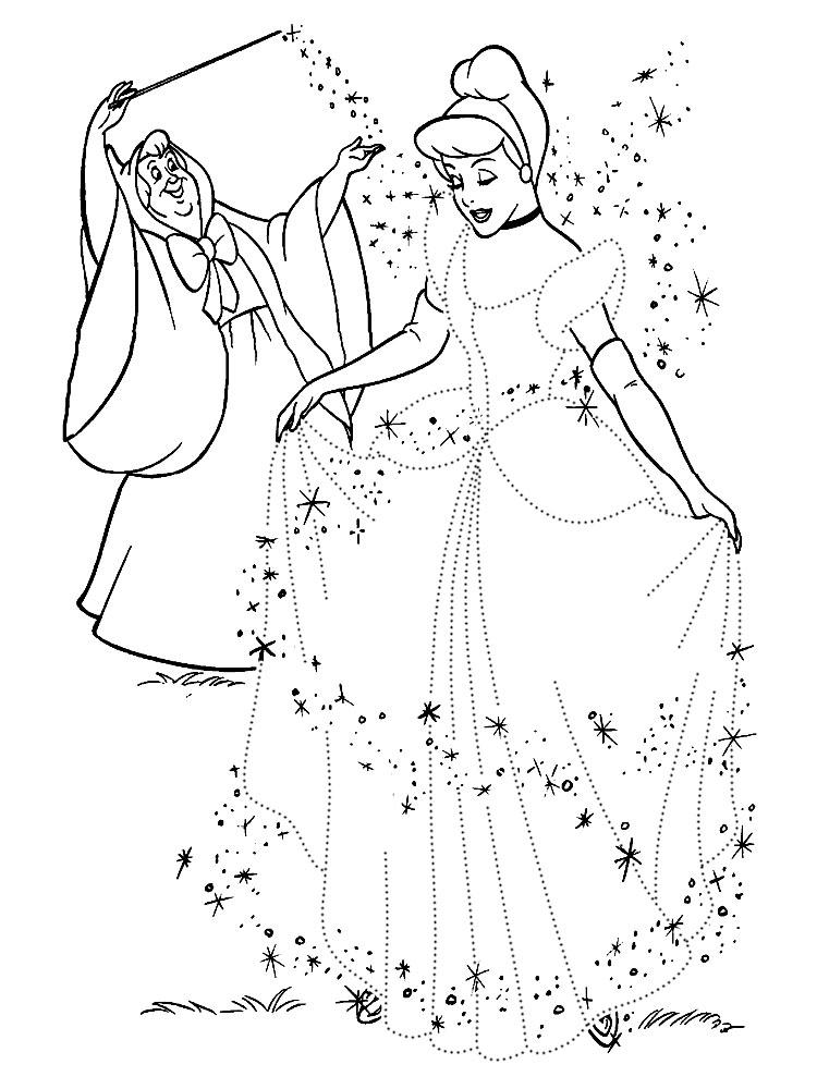 Фея и золушка в новом платье Раскраски с цветами распечатать бесплатно