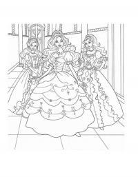 Три принцессы на балу Раскраски с цветами распечатать бесплатно